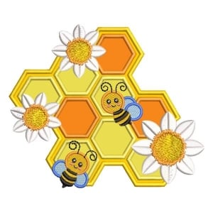 Hive with Bee (Applique) Embroidery Design