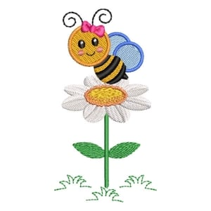 Little Bee with Flower Embroidery Design