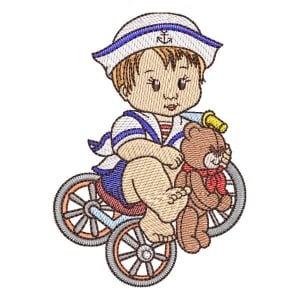 Boy on the Bike Embroidery Design
