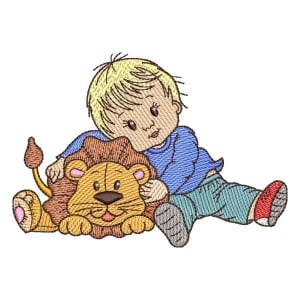 Boy with Lion Embroidery Design