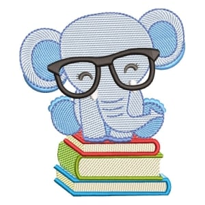 Elephant student (Quick Stich) Embroidery Design