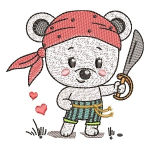 Pirate Teddy (Quick Stitch) Embroidery Design