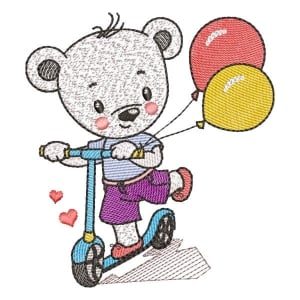 Scooter Teddy (Quick Stitch) Embroidery Design