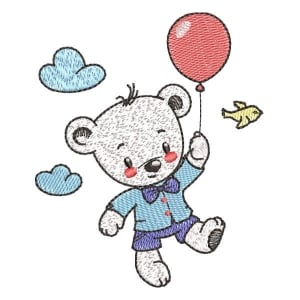 Teddy bear in the Balloon (Pontos Leves) Embroidery Design