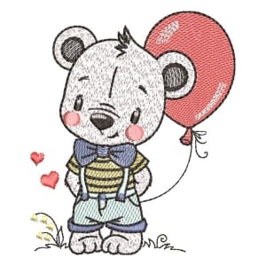 Teddy in Love (Quick Stitch) Embroidery Design