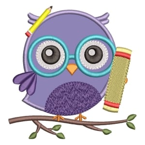 Owl Back to School (Applique) Embroidery Design