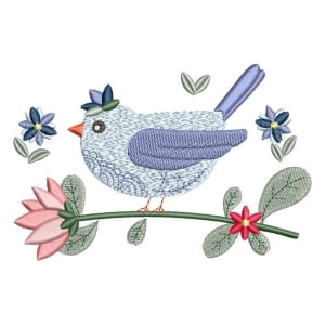 Bird with Flower Embroidery Design