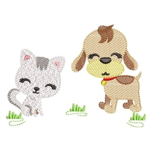 Farm Dog and Cat Embroidery Design