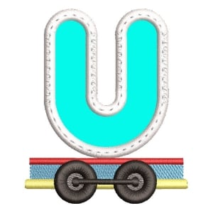 Monogram Train Letter U (Applique) Embroidery Design