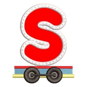 Monogram Train Letter S (Applique) Embroidery Design