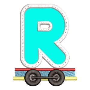 Monogram Train Letter R (Applique) Embroidery Design