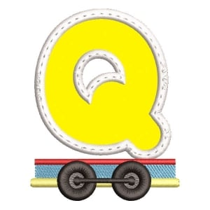 Monogram Train Letter Q (Applique) Embroidery Design