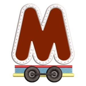 Monogram Train Letter M (Applique) Embroidery Design