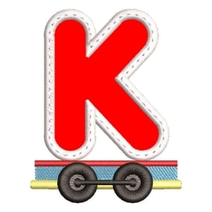 Monogram Train Letter K (Applique) Embroidery Design