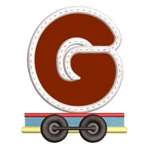 Monogram Train Letter G (Applique) Embroidery Design
