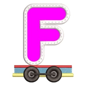 Monogram Train Letter F (Applique) Embroidery Design