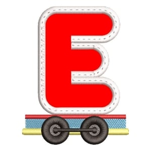 Monogram Train Letter E (Applique) Embroidery Design
