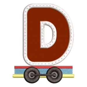Monogram Train Letter D (Applique) Embroidery Design