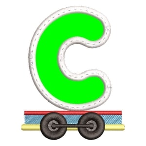 Monogram Train Letter C (Applique) Embroidery Design