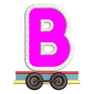 Monogram Train Letter B (Applique) Embroidery Design