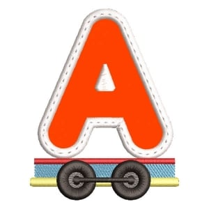 Monogram Train Letter A (Applique) Embroidery Design