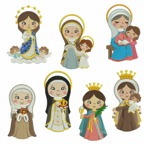 Cute Saints Embroidery Design Pack