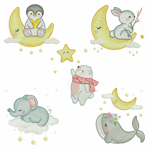 Sleepy Animals Embroidery Design Pack