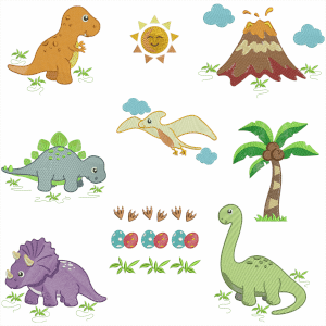 Dino Park Embroidery Design Pack (Quick Stitch)