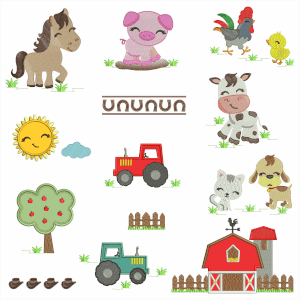 Happy Farm Embroidery Design Pack (Quick Stitch)