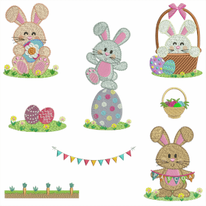Easter bunny Embroidery Design Pack (Quick Stitch)