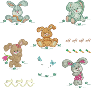 Bunny Embroidery Design Pack (Quick Stitch)