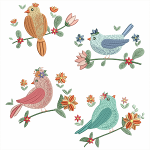 Birds in Flowers Embroidery Design Pack