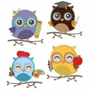 Owls Back to school Embroidery Design Pack (Applique)