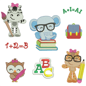 Animals in Class Embroidery Design Pack
