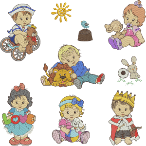 Scenarios with Boys and Girls Embroidery Design Pack