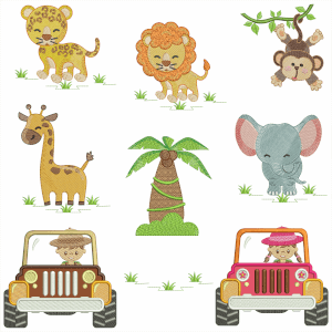 Zoo park Embroidery Design Pack (Quick Stitch)