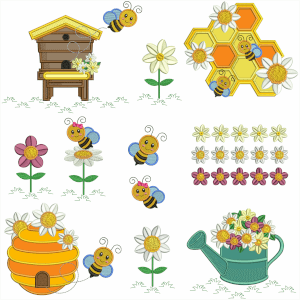 Flowers with Bees Embroidery Design Pack