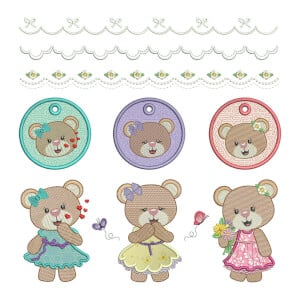 Bears Embroidery Design Pack (Applique)