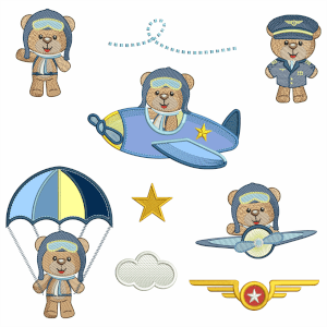 Aviator Bears Embroidery Design Pack