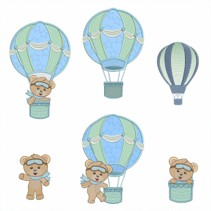 Bear on Balloon Embroidery Design Pack
