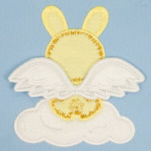 Bunny with 3D wings (In the hoop) Embroidery Design