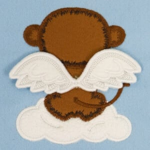 Monkey with 3D Wings (In the hoop) Embroidery Design