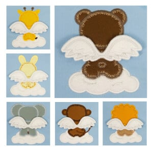 Animals with 3D Wings embroidery Design Pack (In the hoop)