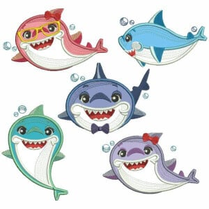 Family Shark Embroidery Design Pack