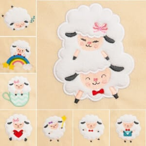 Cute Sheep (Applique) Embroidery Design Pack