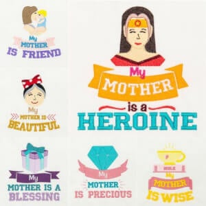 Mother's Day Embroidery Design Pack