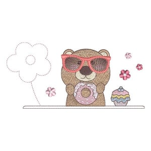 Teddy Bear Eating Embroidery Design