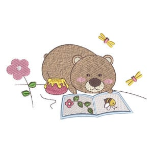 Teddy bear Studying Embroidery Design