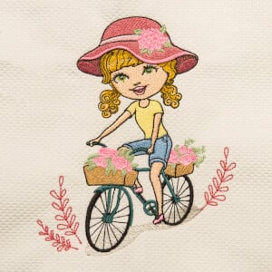 Girl on Bike Embroidery Design