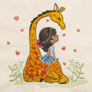 Girl with Giraffe Embroidery Design